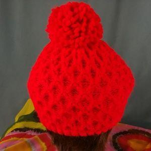 Vtg Red Slouch Hat Pom Pom Acrylic Knit OS Festival